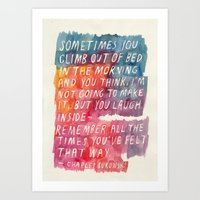 bukowski Art Prints featuring Charles Bukowski by Mei Lee