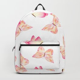Hand painted pink coral watercolor pretty butterflies Backpack