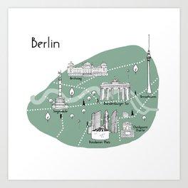 Mapping Berlin - Green Art Print