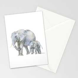 Mother and Baby Elephants Stationery Cards