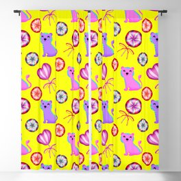 Cute happy baby tigers, colorful retro vintage heart lollipops nursery yellow pattern design Blackout Curtain