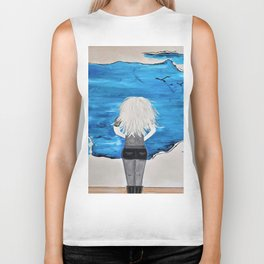 Enticing Interlude. Illustrated for Author Michelle Mankin. Girl Sunset Blue Blonde Sky Biker Tank
