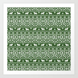 Border Collie fair isle christmas green and white holiday sweater dog breed gifts Art Print