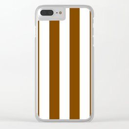 Vertical Stripes - White and Chocolate Brown Clear iPhone Case