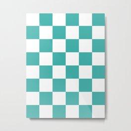 Large Checkered - White and Verdigris Metal Print