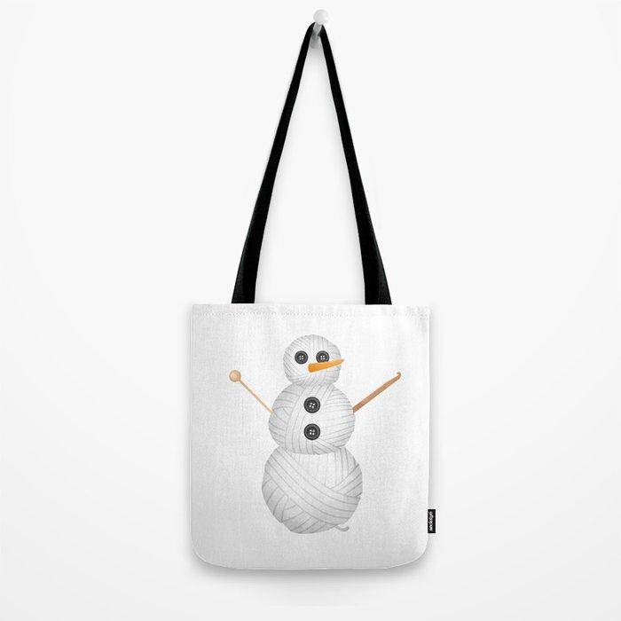 Yarn Snowman Tote Bag