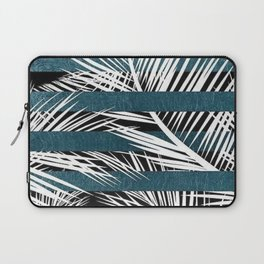 White Palms and Teal Lines Laptop Sleeve