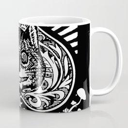 Cheshire Cat Black and White Coffee Mug