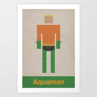 aquaman Art Prints featuring Retro Aquaman by JChevere
