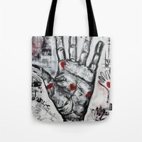 writer Tote Bags featuring palm writer by sladja