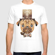 mister pug White Mens Fitted Tee LARGE