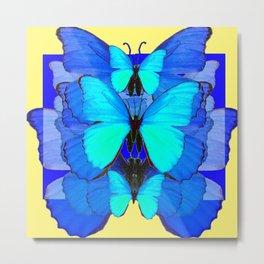 DECORATIVE BLUE SATIN BUTTERFLIES YELLOW PATTERN ART Metal Print