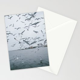 A flock of seagulls; Winter choas  Stationery Cards
