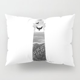I Carried You Lighthouse Design Black and White Pillow Sham