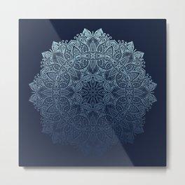 Mandala Deep Blue Bohemian Ombre Metal Print