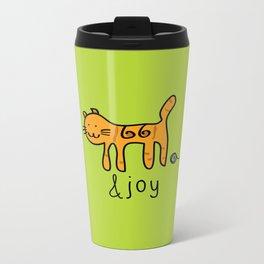 Cute Cat &joy Doodle Drawing Metal Travel Mug