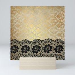 Black floral luxury lace on gold damask pattern Mini Art Print