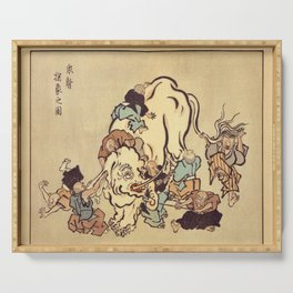Itcho Hannabusa Blind monks examining an elephant Serving Tray