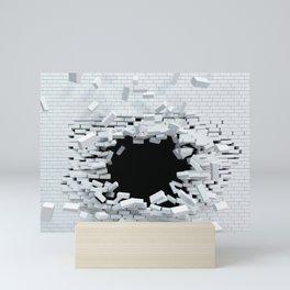 3D White Brickwall Bursting Shattering Ultra HD Mini Art Print