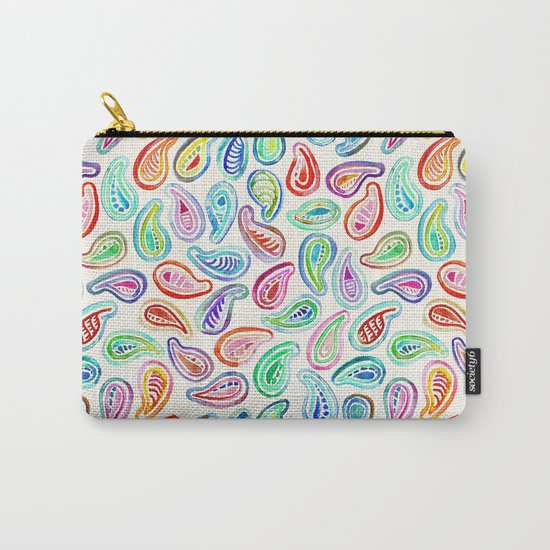 Simple Hand Painted Watercolor Paisley Pattern Carry-All Pouch