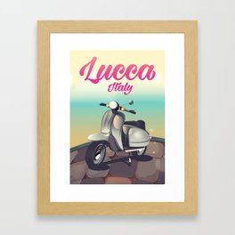 Lucca Italy Scooter travel poster Framed Art Print