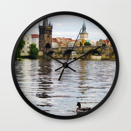 Ducks and Charles Bridge Wall Clock
