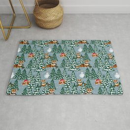 Corgis in the winter forest Rug