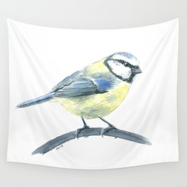 Blue tit, watercolor painting Wall Tapestry