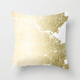 Amsterdam Gold on White Street Map Throw Pillow
