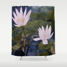 Watercolor Flower Water Lily Landscape Nature Shower Curtain