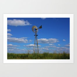 Kansas Country Windmill in a Pasture Art Print