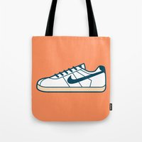 nike Tote Bags featuring #55 Nike Cortez by Brownjames Prints