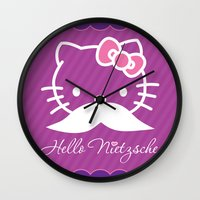 nietzsche Wall Clocks featuring Hello Nietzsche (white) by elvisbr