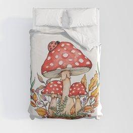 Watercolor Mushrooms Duvet Cover