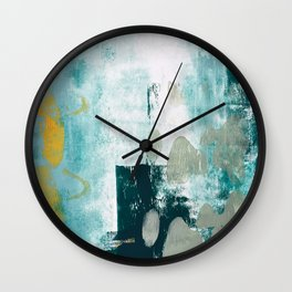 023.2: a vibrant abstract design in teal green and yellow by Alyssa Hamilton Art  Wall Clock