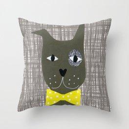 Monocle Dog Throw Pillow