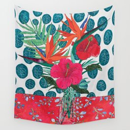 Tropical Bouquet in Living Coral and Emerald Green Wall Tapestry