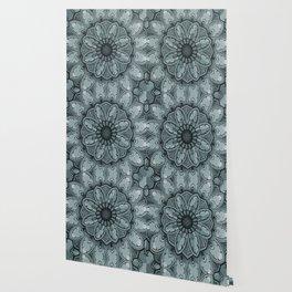 Indian Mandala Flower grey Wallpaper