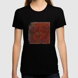 Caravans II:  Asian Print  Plum, gold, orange green origami textile floral design T-shirt