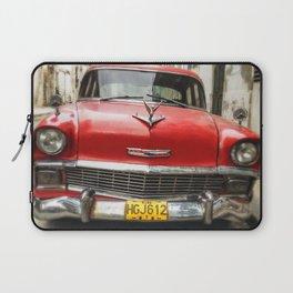 Vintage Red American Car on the Streets of Havana. Laptop Sleeve