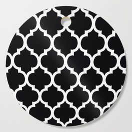 Moroccan Black and White Lattice Moroccan Pattern Cutting Board