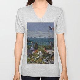 "Claude Monet ""Garden at Sainte-Adresse (Jardin à Sainte-Adresse)"" Unisex V-Neck"