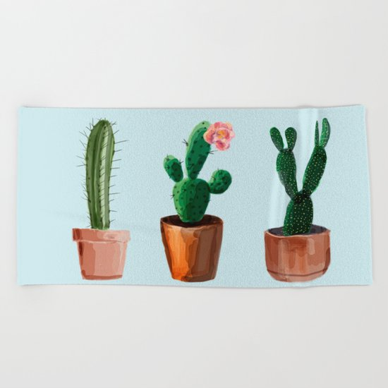 Three Cacti On Light Blue Background Beach Towel