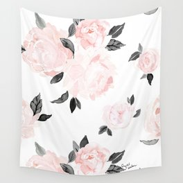 Vintage Blush Floral - BW Wall Tapestry