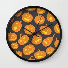 Gray and Orange Jack-O-Lantern Wall Clock