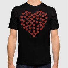 Hearts Heart Red on Navy Tex X-LARGE Black Mens Fitted Tee