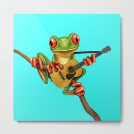 Cute Green Tree Frog Playing an Old Acoustic Guitar Metal Print