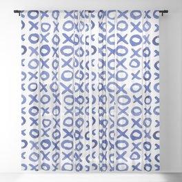 Xoxo valentine's day - blue Sheer Curtain