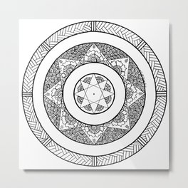 Flower Star Mandala - White Black Metal Print