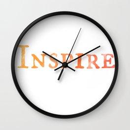 Inspire in Orange Watercolor Wall Clock